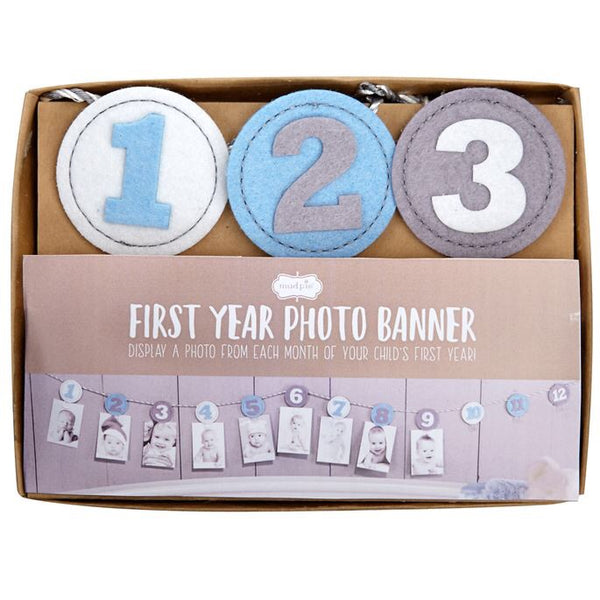 Blue Boys Monthly First Year Birthday Photo Banner