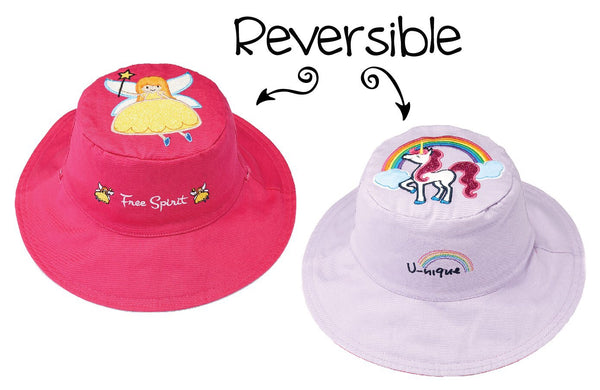 Girls Reversible Floppy Sun Hat Fairy Unicorn