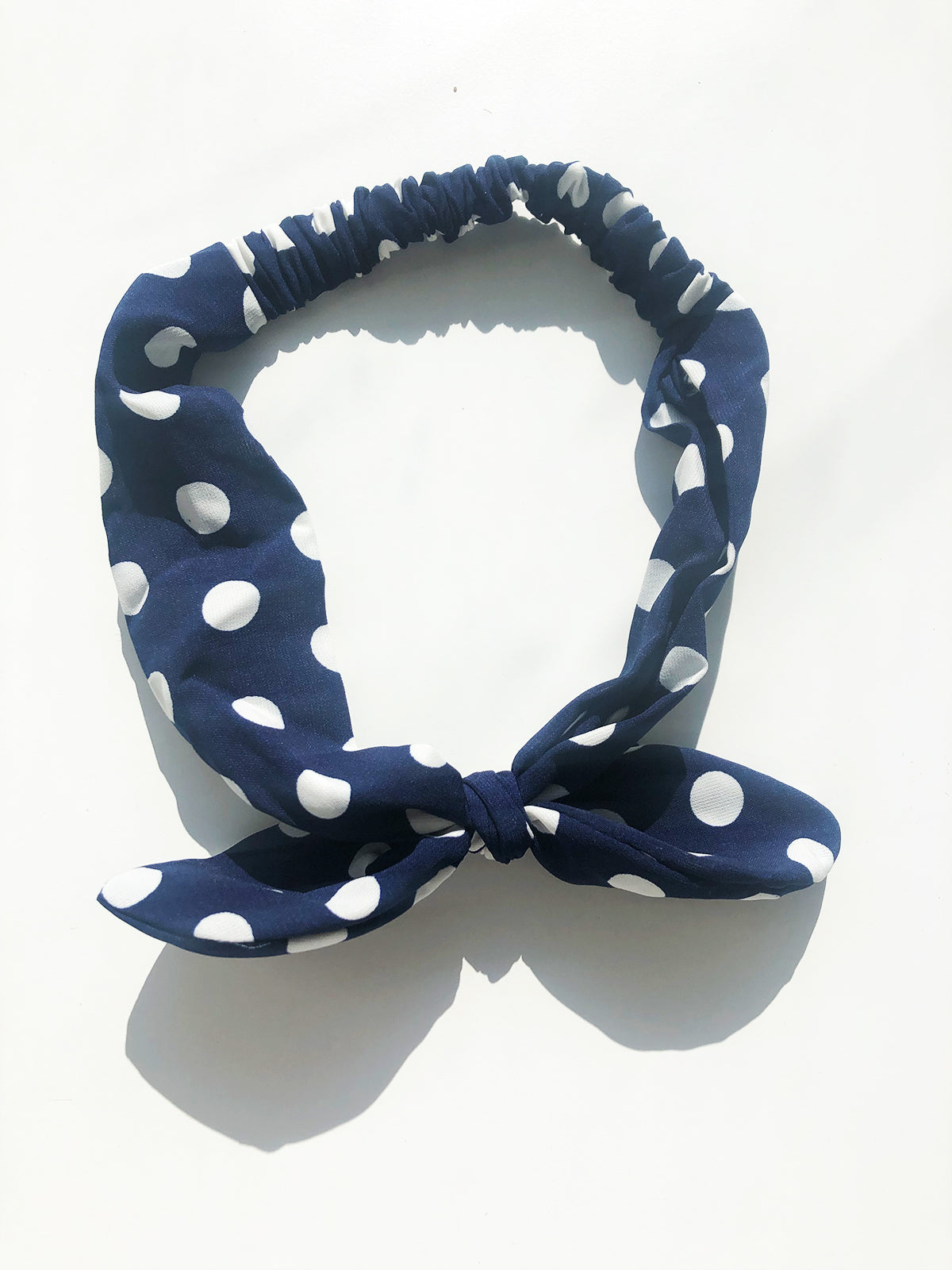 EVERYDAY GLAMOUR BOW HEADBAND - NAVY & WHITE POLKA DOT