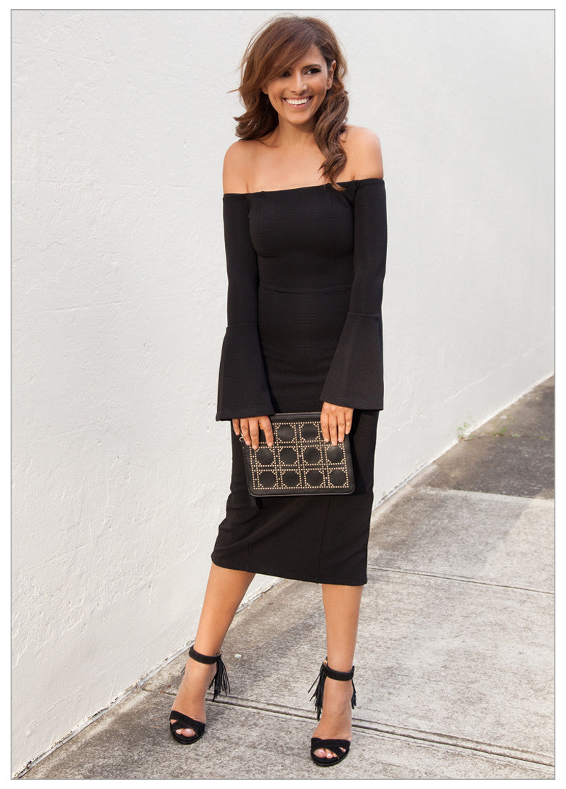 TAYLOR BELL SLEEVE OFF THE SHOULDER DRESS