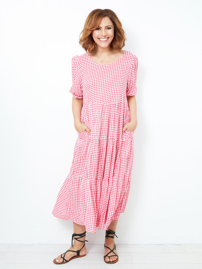 A PEACEFUL LOVE CHECKED DRESS – PINK