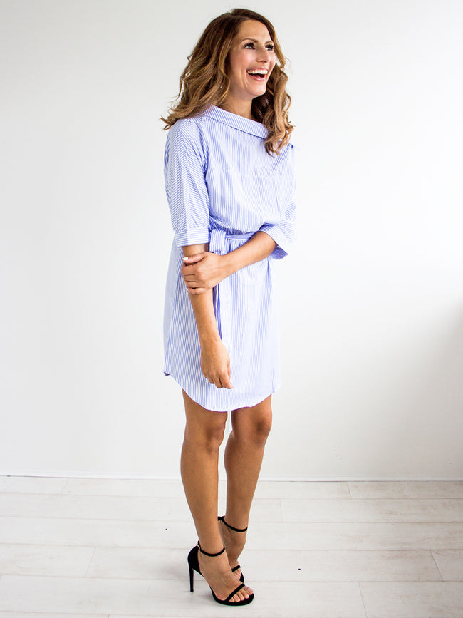 BETTER DAYS WIDE SHOULDER STRIPE DRESS