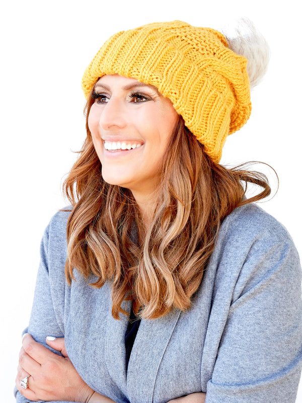 DESTINATION LOVE MUSTARD BEANIE