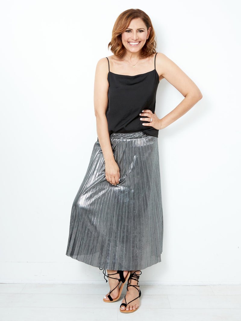DIVINE UTOPIA SILVER PLEATED SKIRT