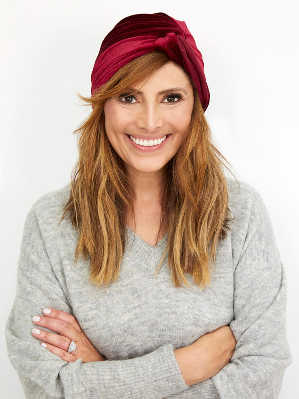 EVERYDAY GLAMOUR BURGUNDY VELVET TURBAN