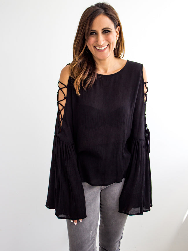 FALLEN ANGEL TIE SLEEVE TOP