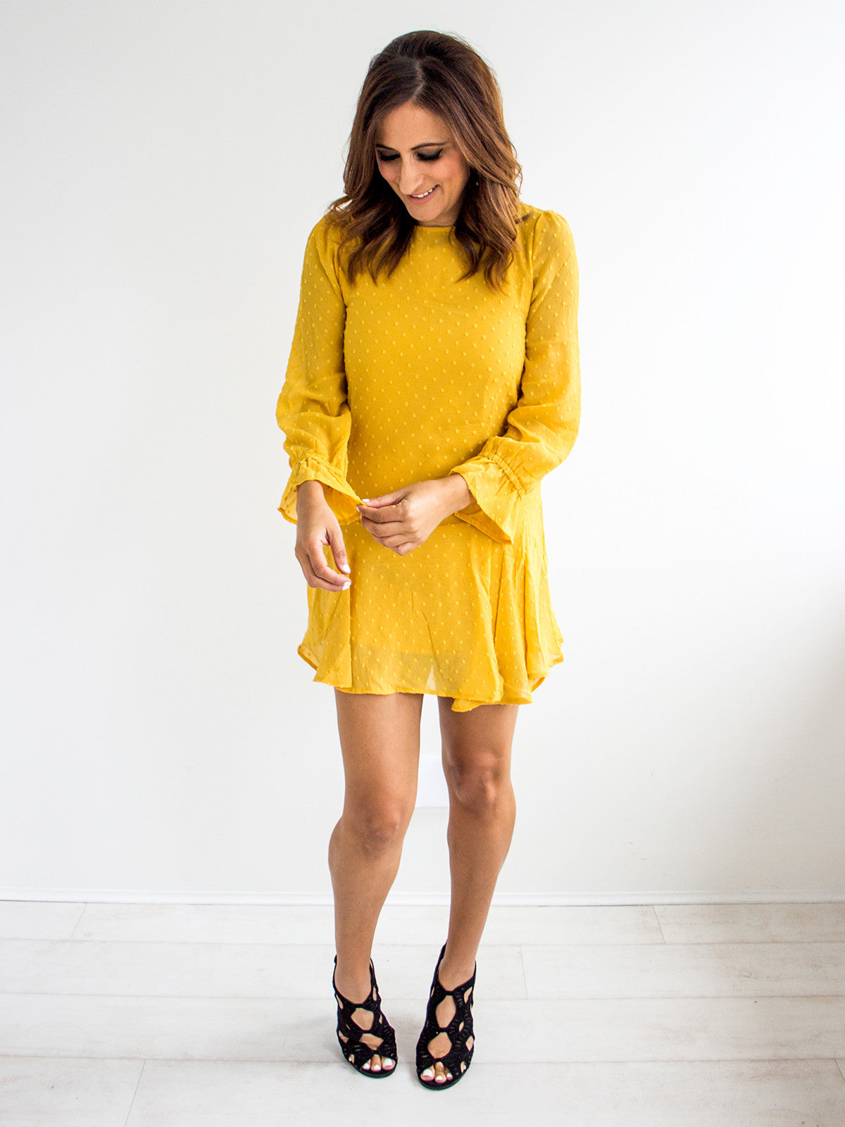 FLIPPY LANE MUSTARD FLIP MINI DRESS