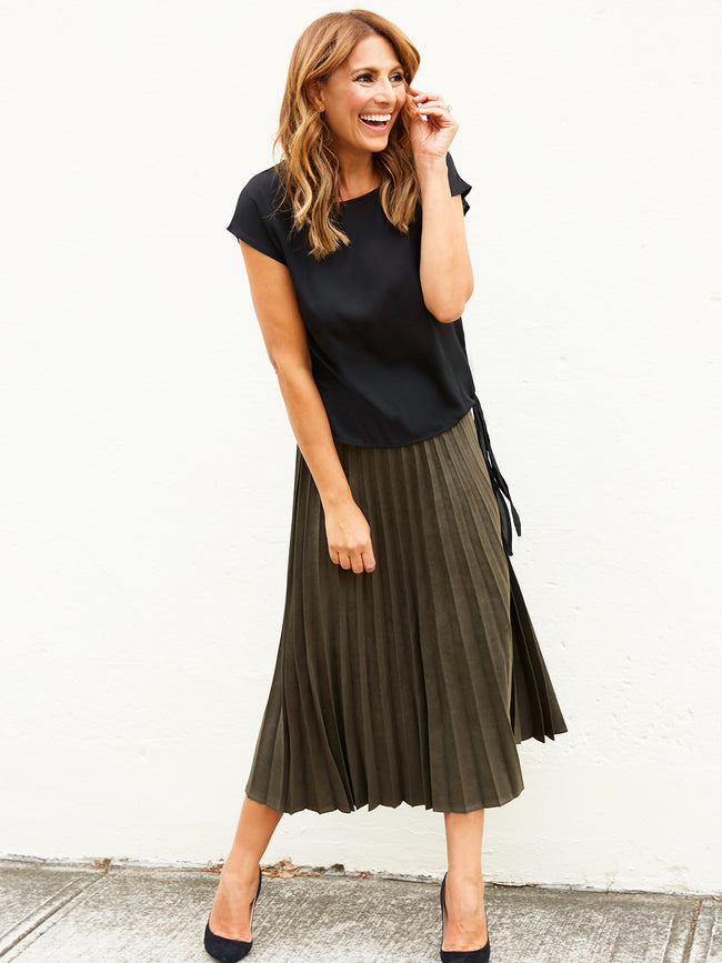 FOR PLEATS SAKE SMOKY OLIVE MIDI SKIRT