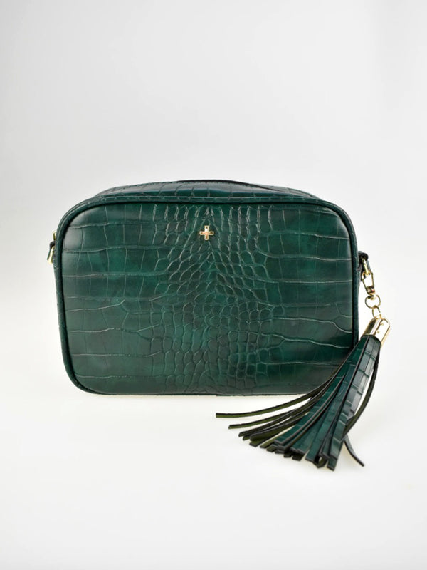 GRACIE CROSS BODY BAG IN GREEN CROC