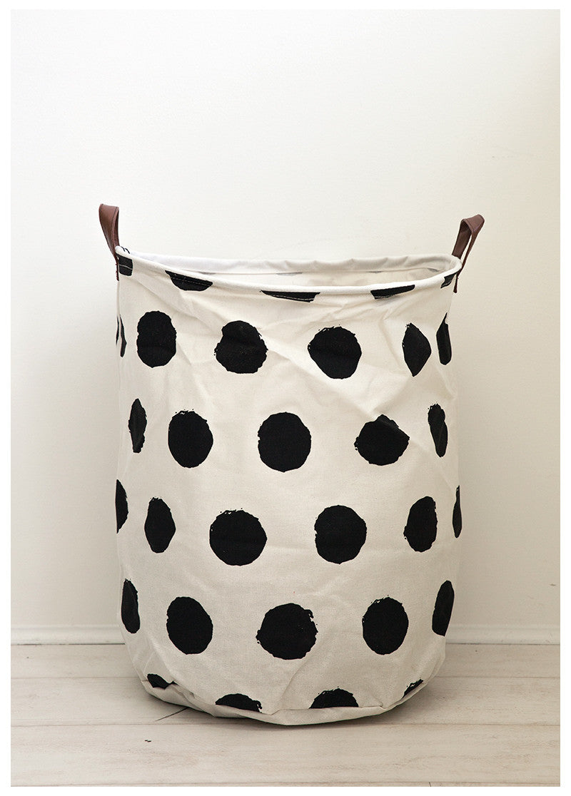 HOUSTON CANVAS HAMPER - B&W SPOTS