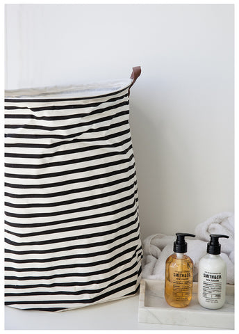 HOUSTON CANVAS HAMPER - B&W STRIPES