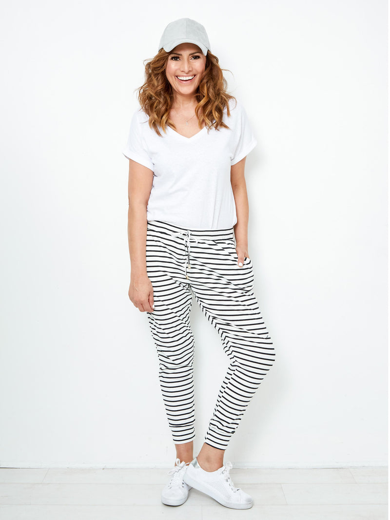 HEY BABE STRIPE JOGGER – WHITE