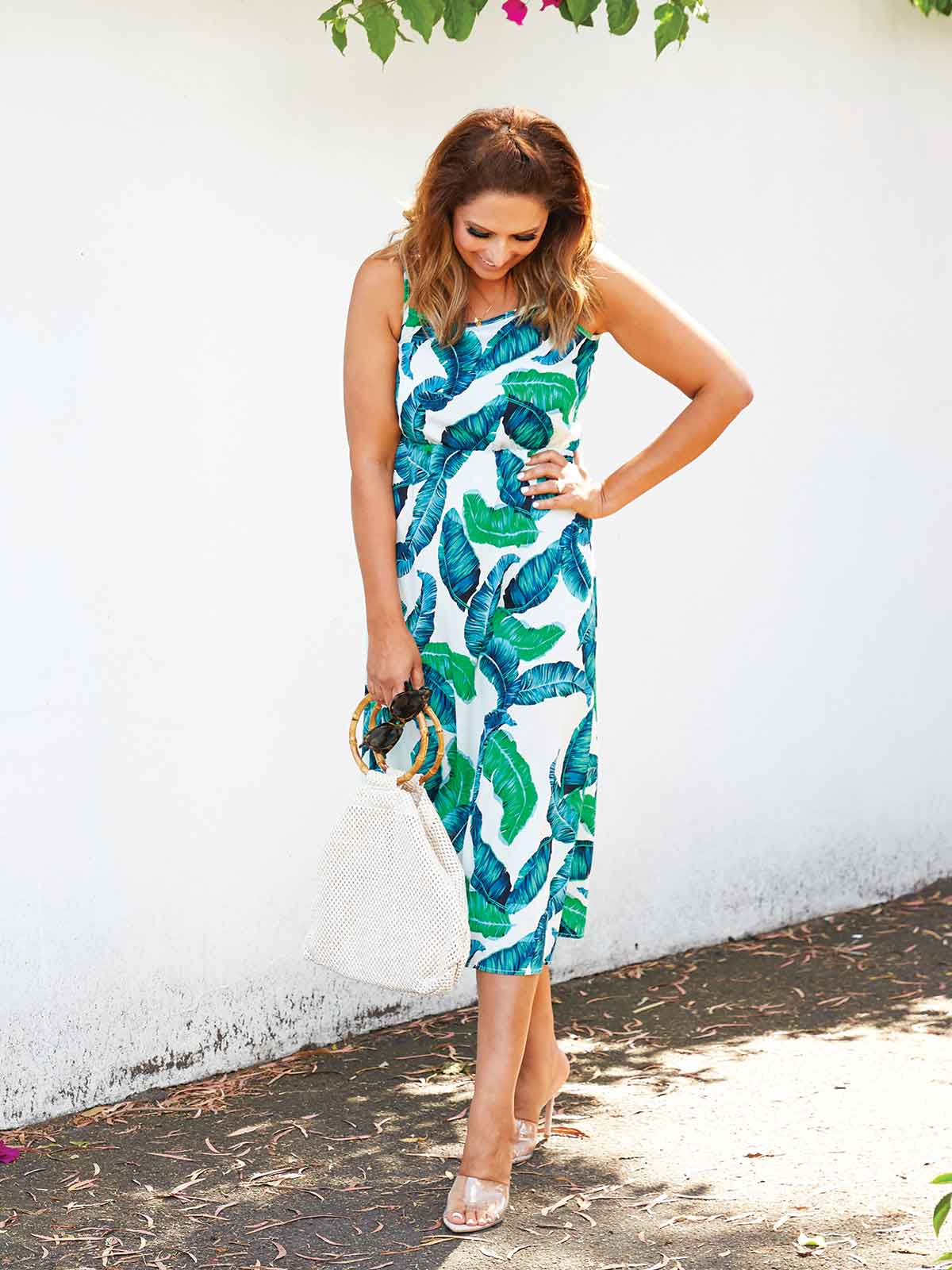 ISLAND VIBES PALM PRINT DRESS