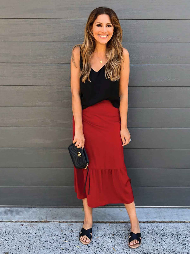 YOU HAD ME AT MERLOT FRILL SKIRT