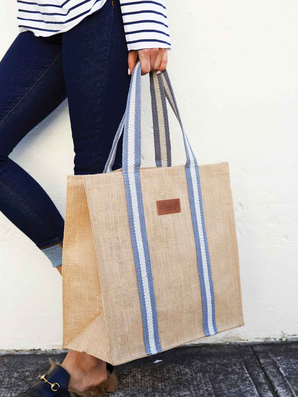 JUTE SHOPPER IN HAMPTONS STRIPE