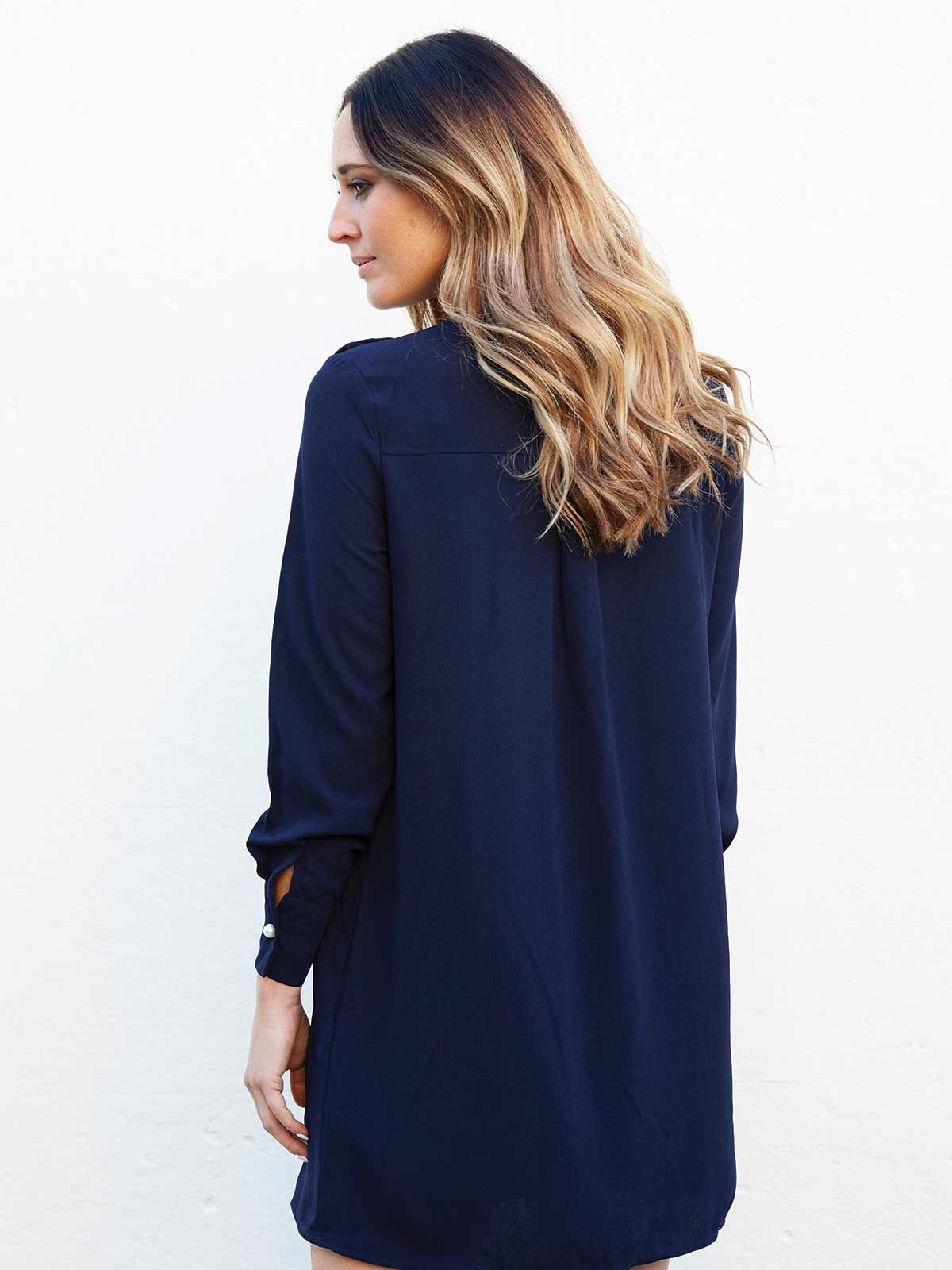 MOONLIGHT SHADOW NAVY SHIFT DRESS