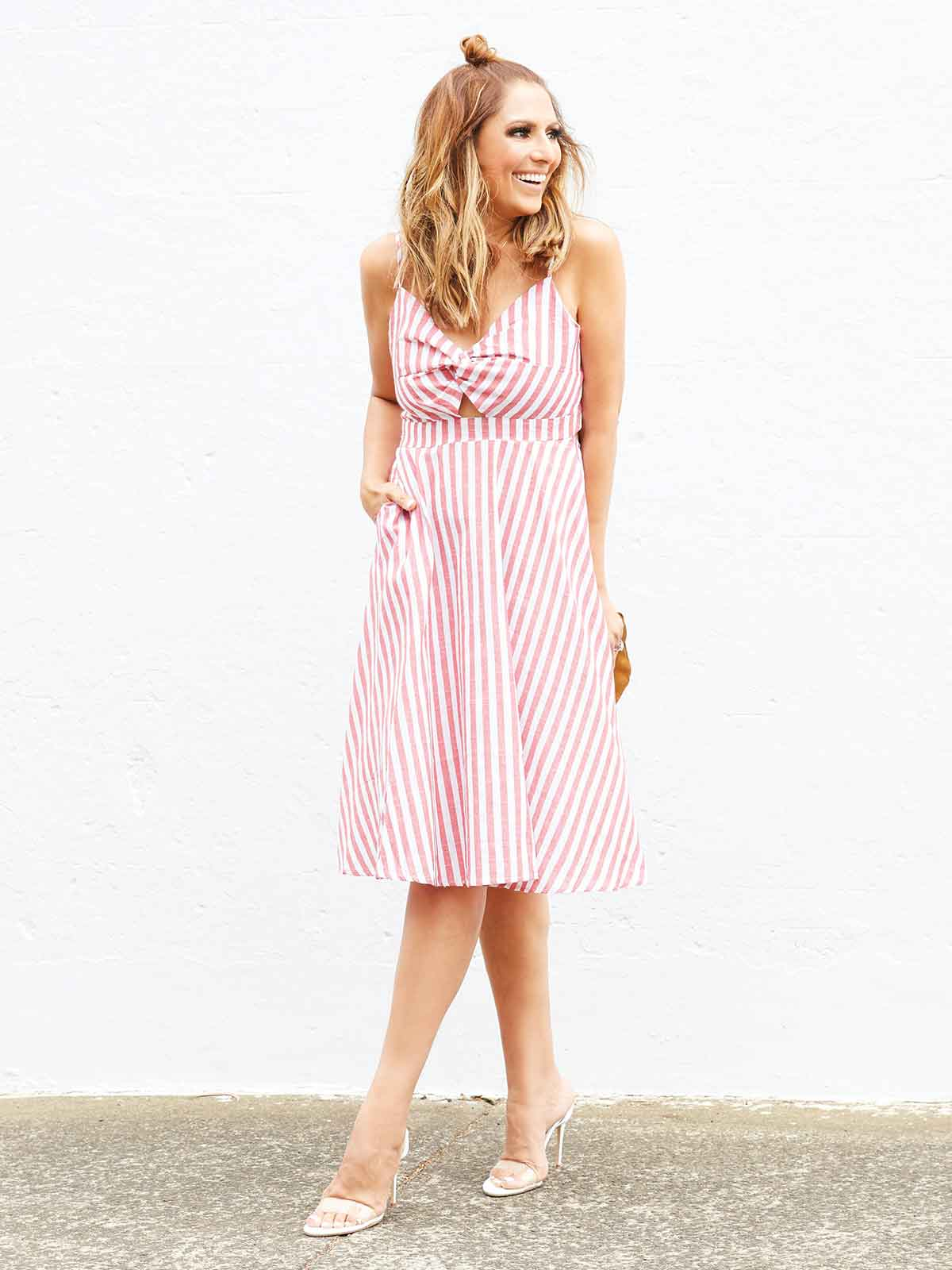 COCKTAILS AT SUNSET STRIPED DRESS