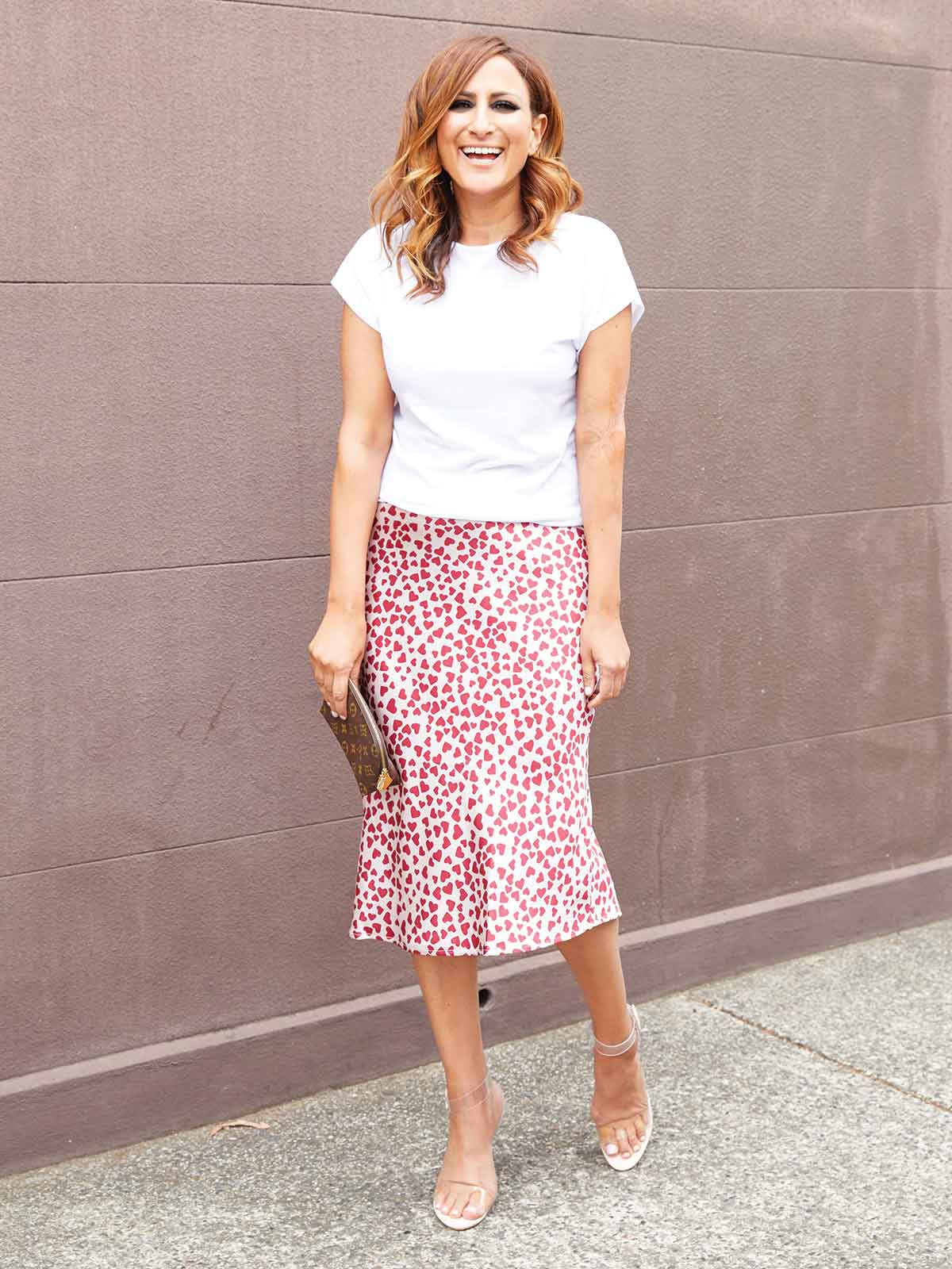 WHAT THE HEART WANTS PRINT SKIRT