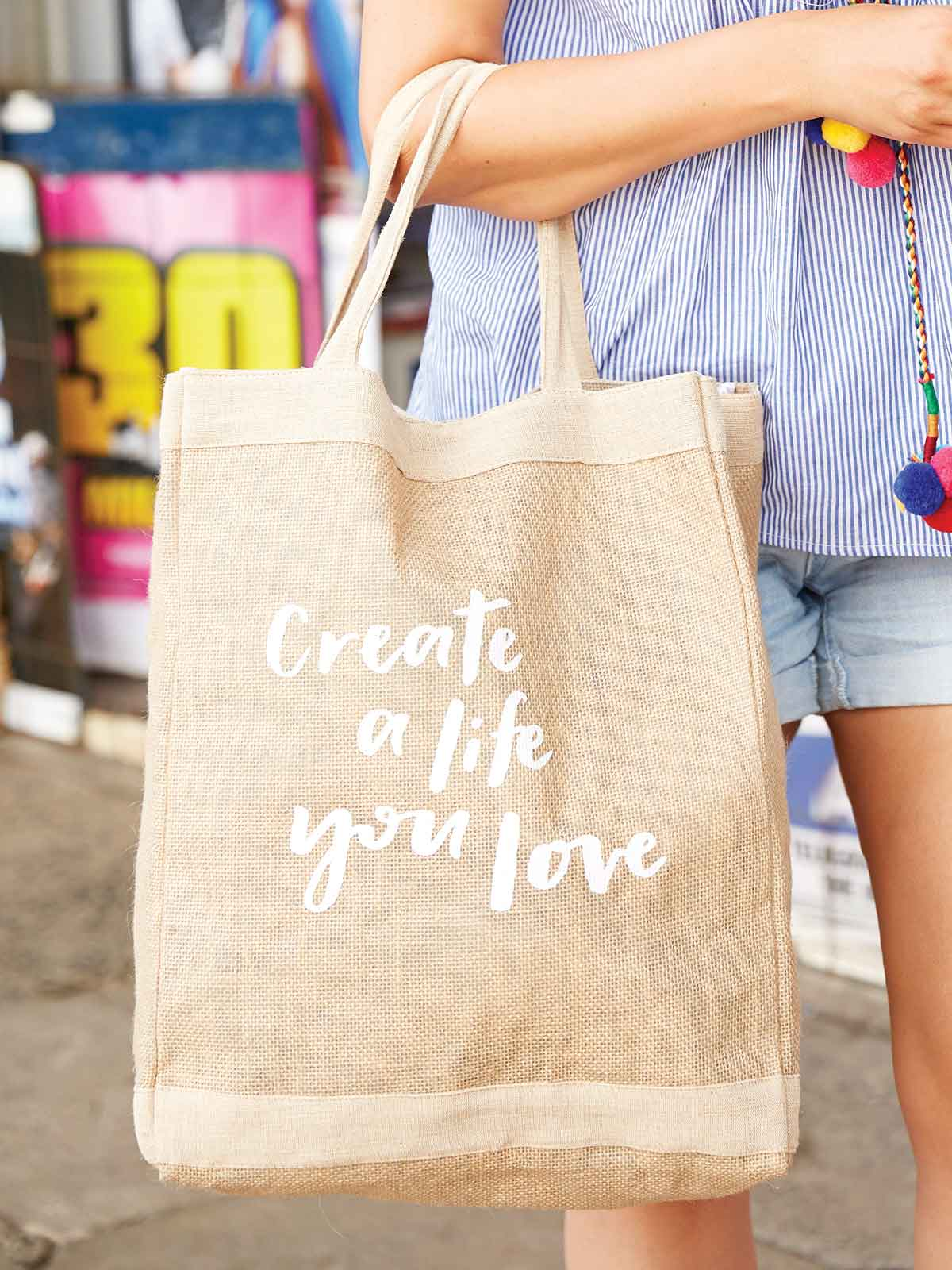 CREATE A LIFE YOU LOVE JUTE SHOPPER - WHITE