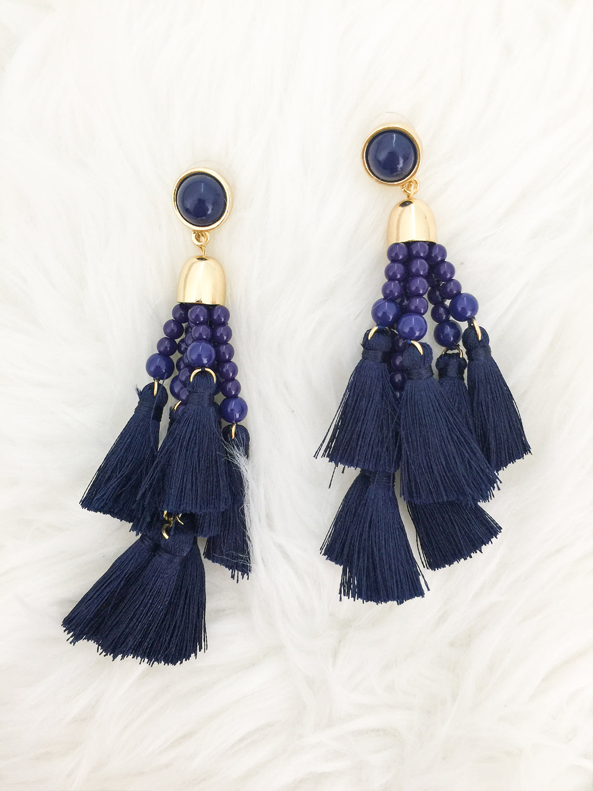 en tassel white tassle earrings boutique happiness crystal