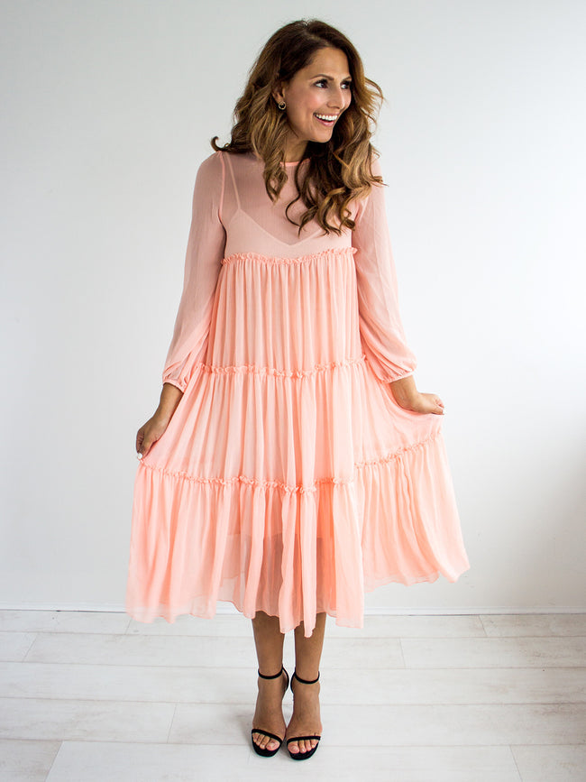 ALL A FLUTTER PEACH DRESS