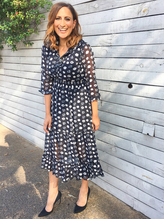 IN THE AFTERGLOW PRINT DRESS - NAVY