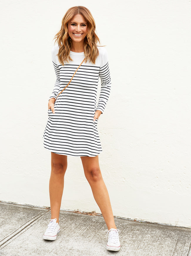 KEEP ON MOVING STRIPED DRESS
