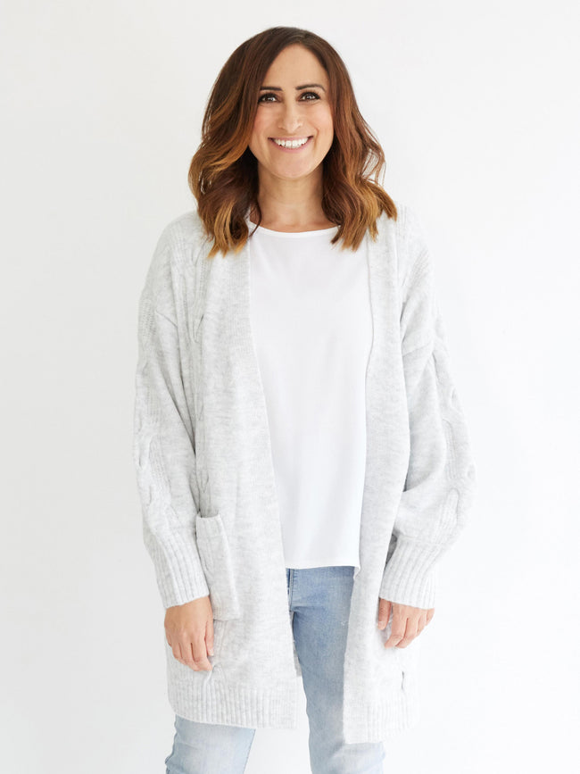LIVE FOR THE MOMENT LIGHT GREY CARDIGAN