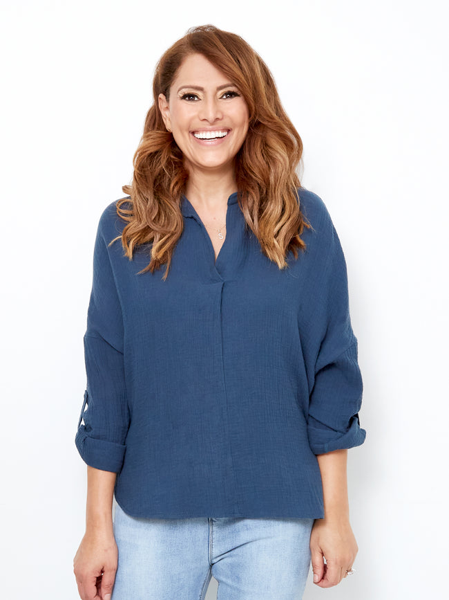 LOVE & LIBERTY TEXTURED BLUE TOP