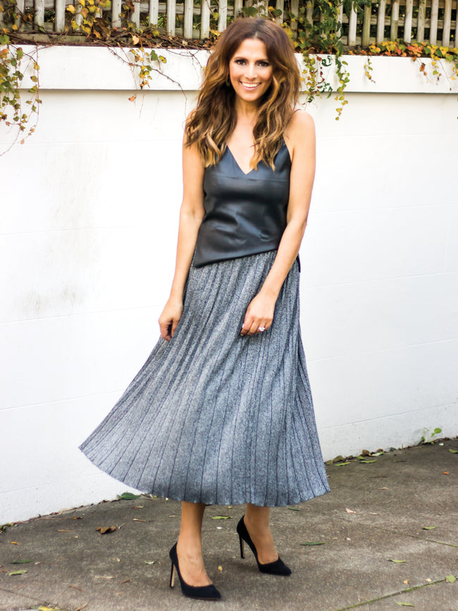 MADE OF STARS METALLIC MIDI SKIRT