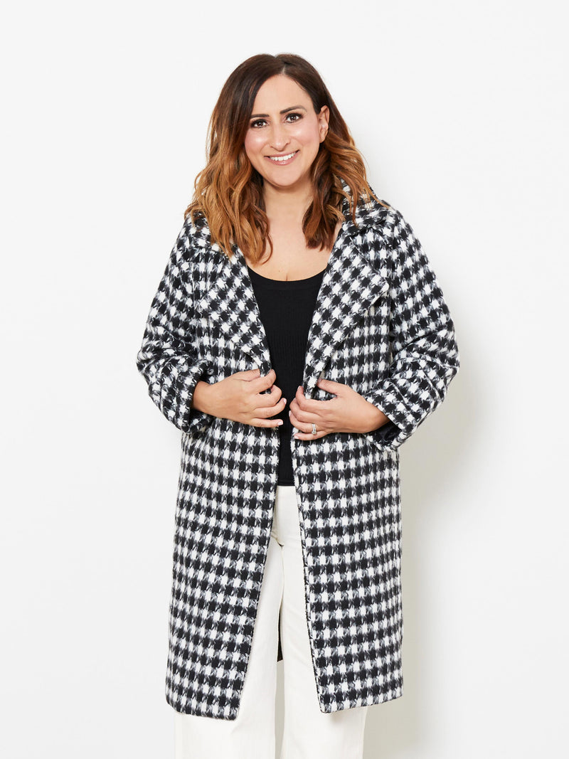 MIDNIGHT KISS CHECKED COAT