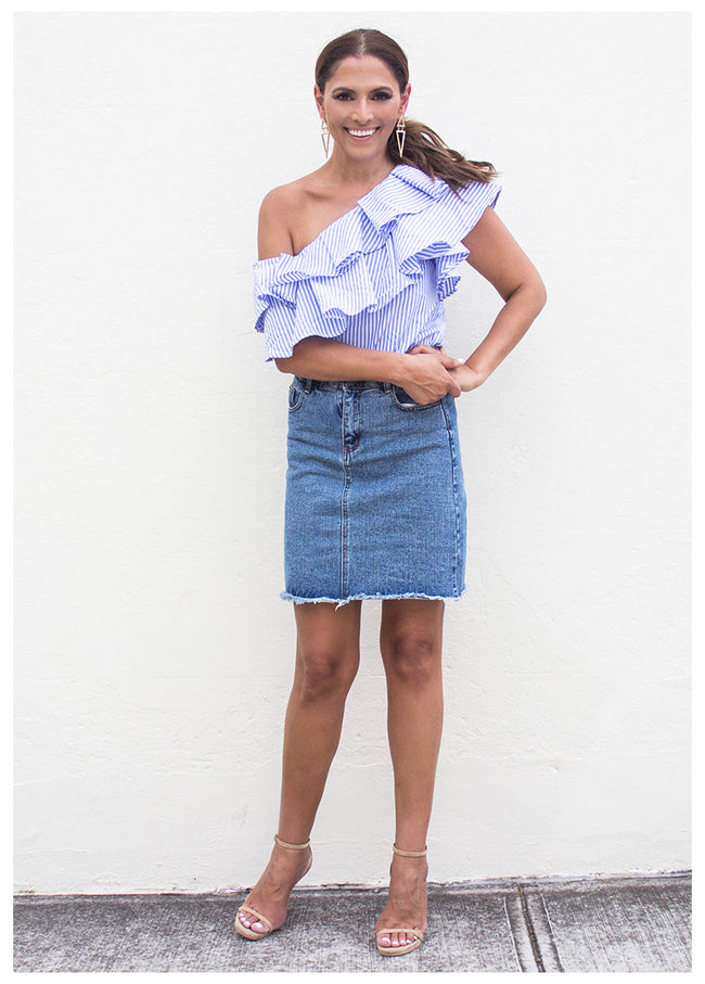 ENCHANTED HEART DENIM SKIRT