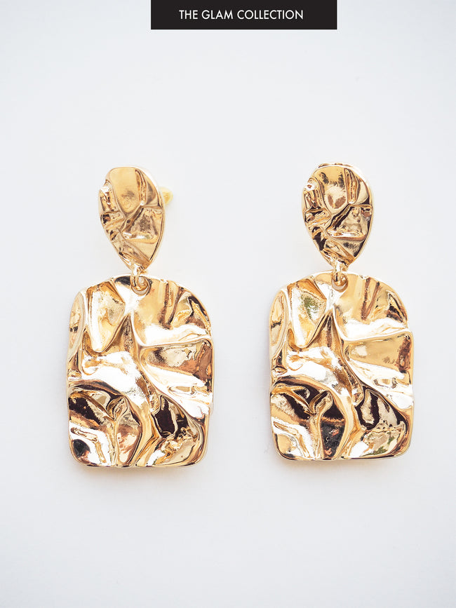 PARADISE DREAMING TEXTURED EARRINGS IN GOLD