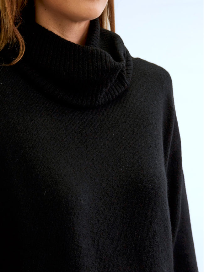 PERFECTLY COSY ROLL NECK KNIT IN BLACK