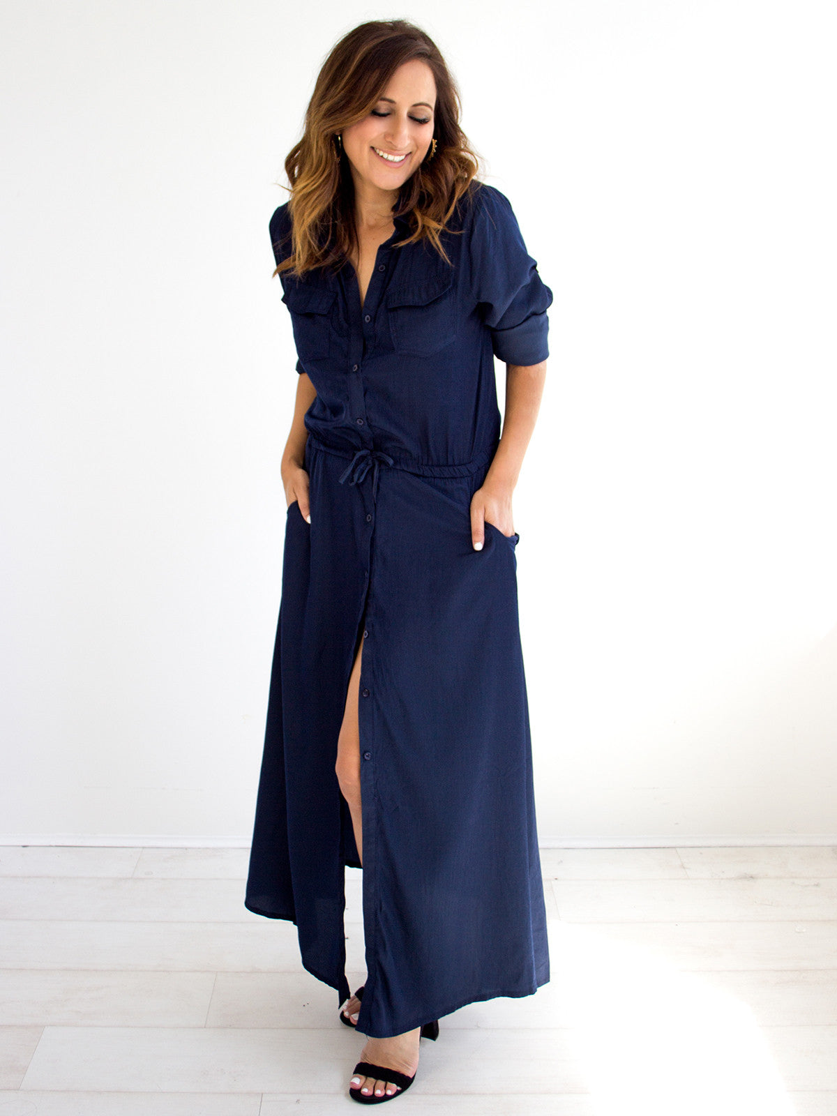 PRETTY WOMAN NAVY MAXI SHIRT DRESS