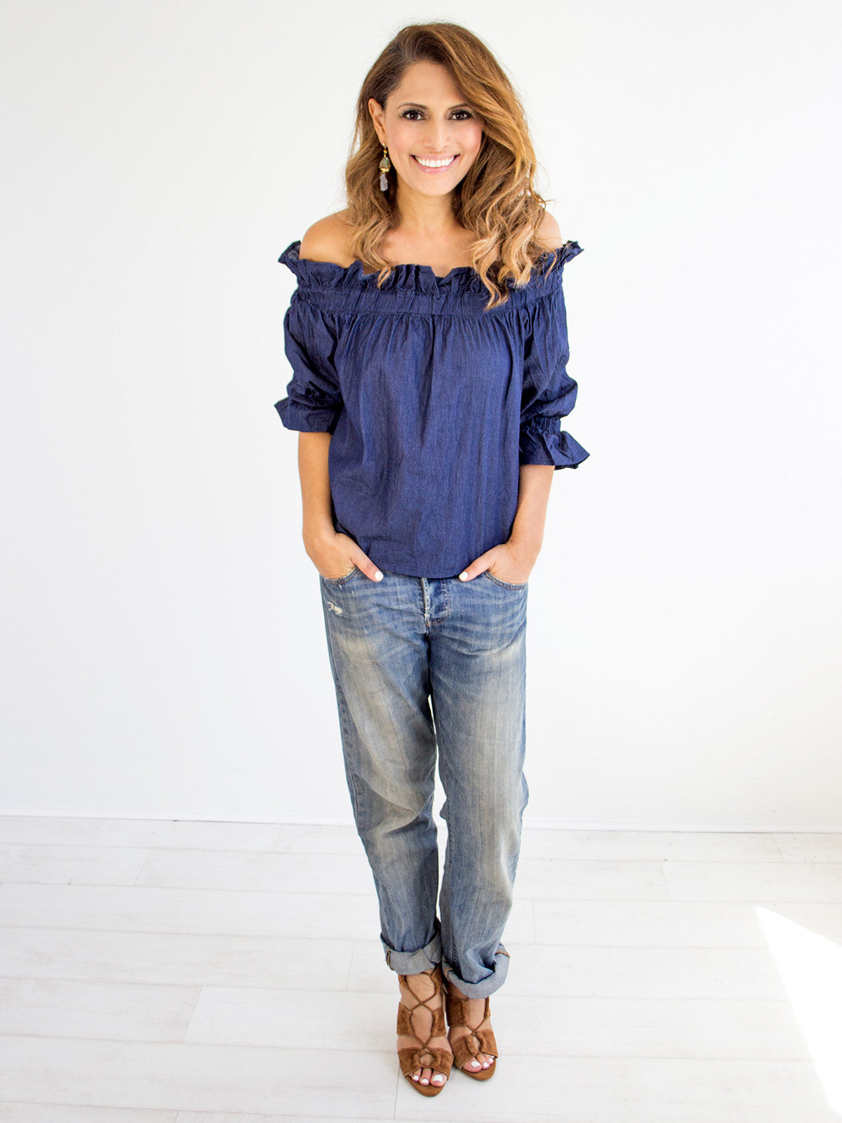 ROCK IT DENIM OFF THE SHOULDER TOP