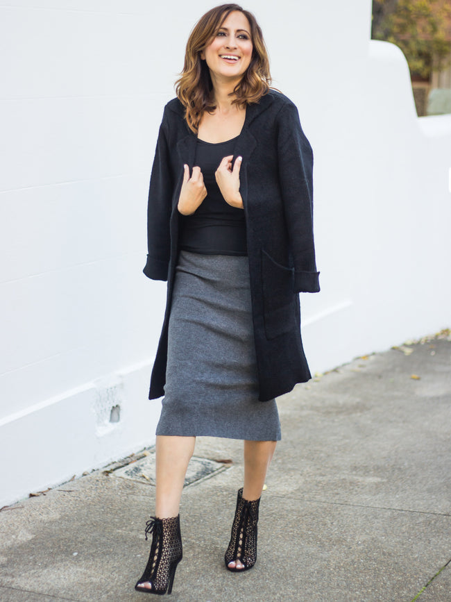 THE RUNAROUND LONG KNIT JACKET - BLACK