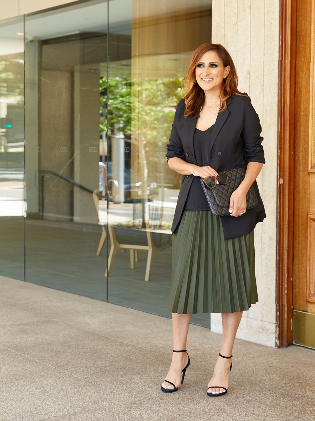 DO AS YOU PLEATS OLIVE SKIRT