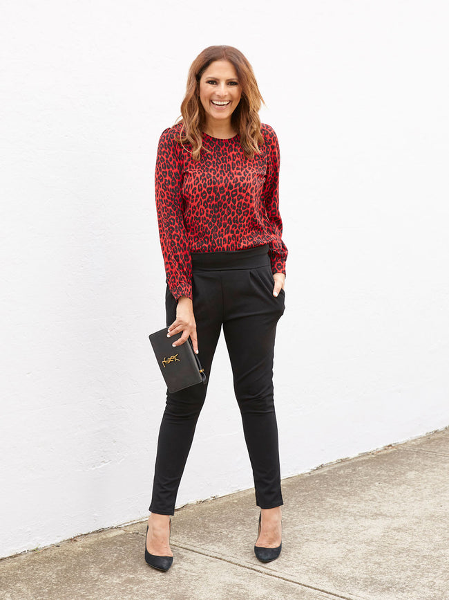 THE CITY OF LOVE BLOUSE IN RED & BLACK