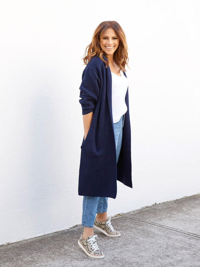 LUXE WINTER WONDERLAND LONG CARDI IN NAVY