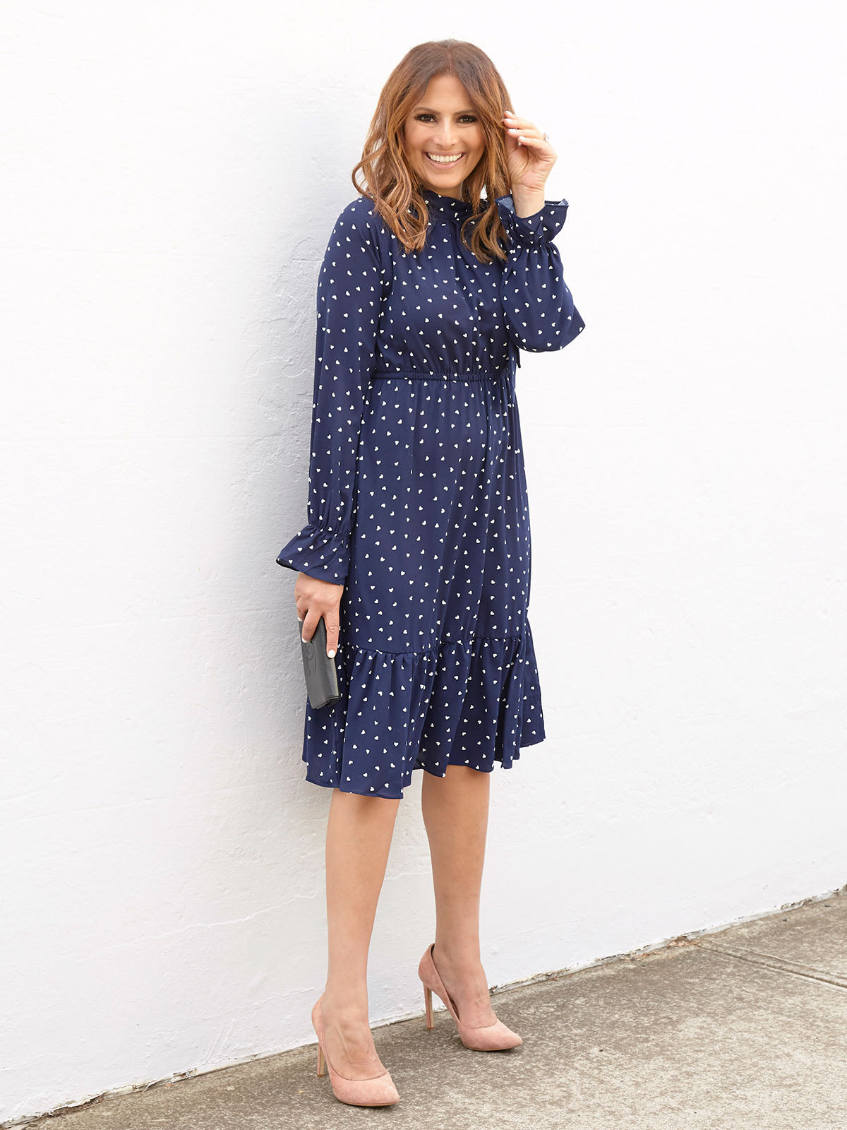 HEARTS ON FIRE DRESS IN NAVY