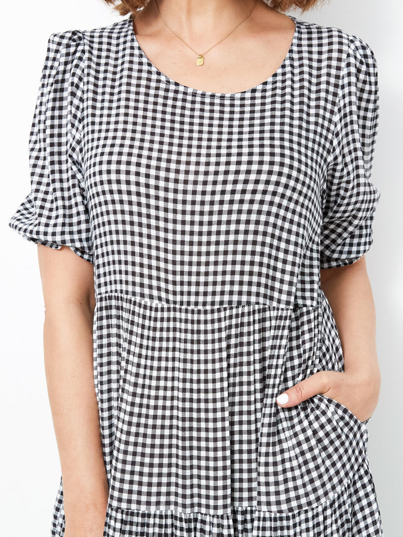 SUMMER DAYS BLACK CHECKED DRESS