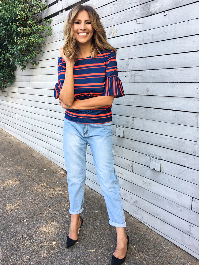 THE TIME IS NOW STRIPE TOP