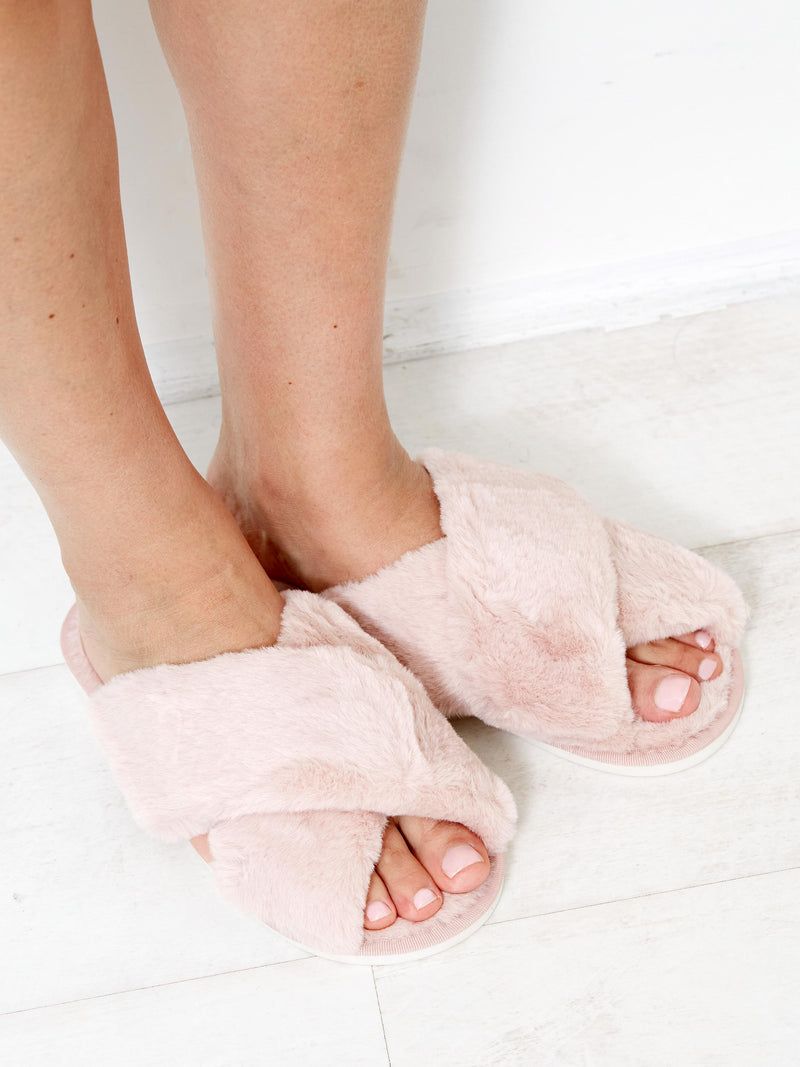 THINK PINK FAUX FUR SLIPPER