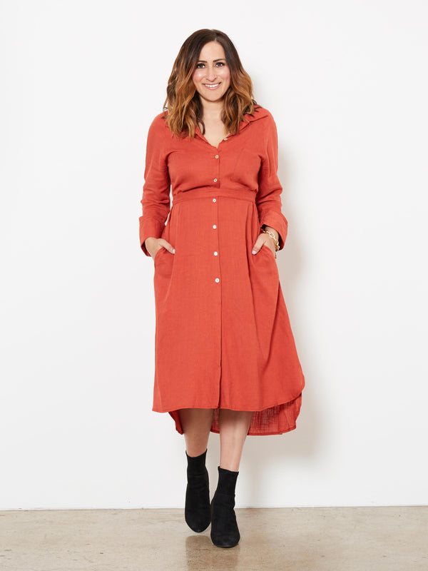 THIS IS ME RUST SHIRT DRESS