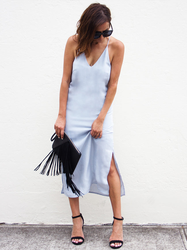 BABE IN BLUE LINEN DRESS