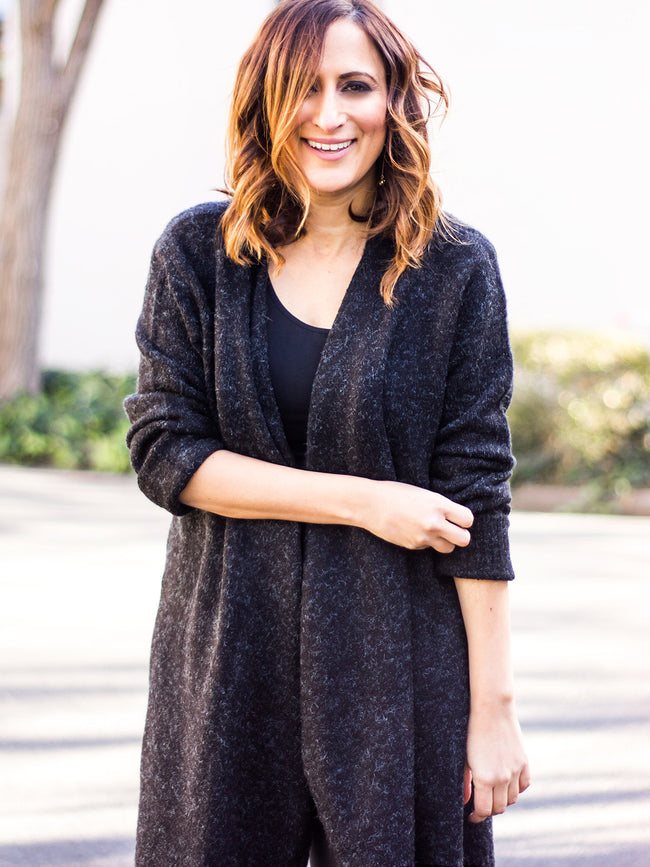BABY IT'S COLD OUTSIDE CHARCOAL KNIT CARDI