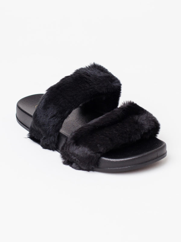 FAUX FUR DOUBLE STRAP SLIDE IN BLACK