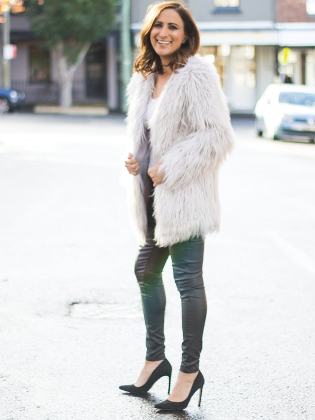 CAMILLE FAUX FUR JACKET - ICY GREY