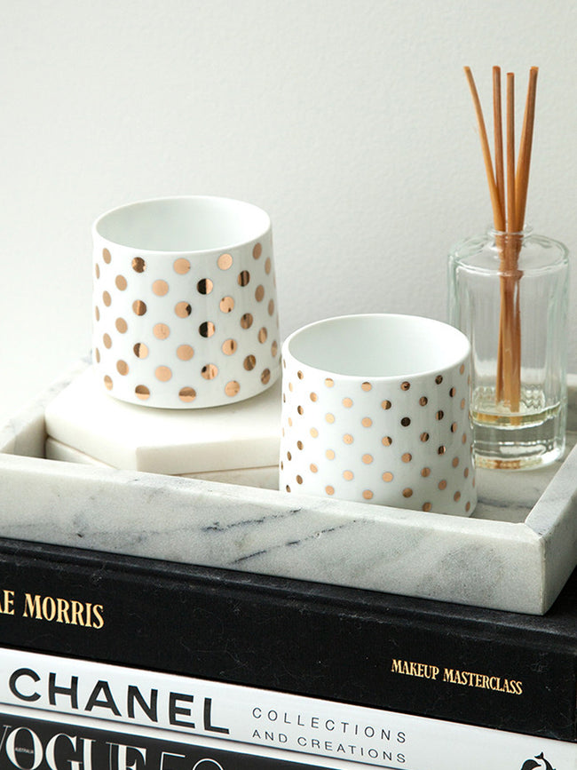 THE DARLING GOLD SPOT CANDLEHOLDERS / TUMBLERS
